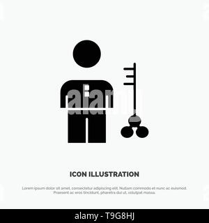 Solution, Key, Lock, Man, Person, Provider, Security solid Glyph Icon vector - Stock Photo