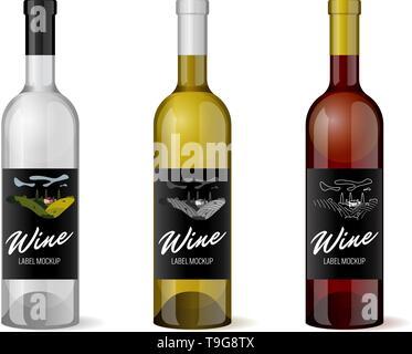 Wine realistic 3d bottle with hand-drawn label retro vintage design template set. Vineyard wine grapes hills farm emblem. Monochrome romantic rural la - Stock Photo