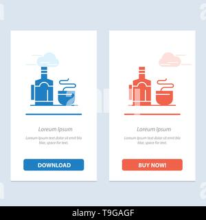 Tea, Cup, Hot, Hotel  Blue and Red Download and Buy Now web Widget Card Template - Stock Photo