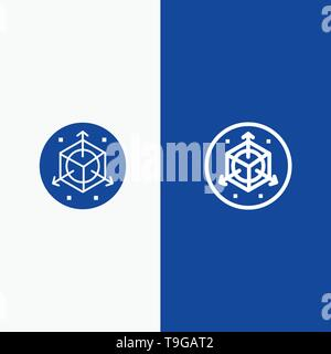 Scale, Modification, Design, 3d Line and Glyph Solid icon Blue banner - Stock Photo