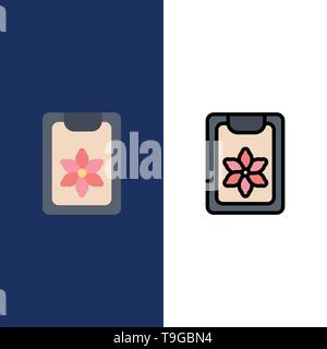 Flower, Clipboard, Spring, Clip  Icons. Flat and Line Filled Icon Set Vector Blue Background - Stock Photo