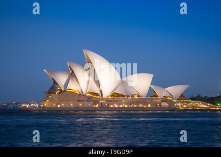 SYDNEY, AUSTRALIA - FEBRUARY 11, 2019: Night time at Sydney Opera House, Australia's most recognisable building and a UNESCO World Heritage Site. - Stock Photo