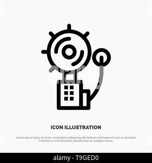 Alarm, Alert, Bell, Fire, Intruder Line Icon Vector - Stock Photo