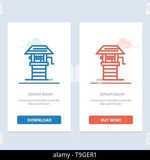 Agriculture, Farm, Farming, Well  Blue and Red Download and Buy Now web Widget Card Template - Stock Photo