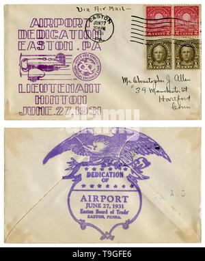 Easton, Pennsylvania, The USA  - 27 June 1931: US historical envelope: cover with cachet Airport dedication, Lieutenant Hinton, sport aircraft - Stock Photo
