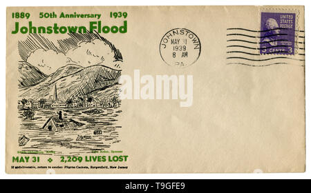Johnstown, Pennsylvania, The USA  - 31 MAY 1939: US historical envelope: cover with cachet 50th anniversary 1889-1939 Johnstown Flood, postage stamp - Stock Photo