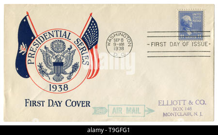 Washington D.C., The USA  - 8 September 1938: US historical envelope: cover cachet  Presidential series, coat of arms, postage stamp James Knox Polk - Stock Photo