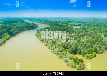Sava river from air, landscape in nature park Lonjsko polje, Croatia, panoramic view of woods and river floods