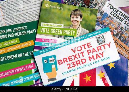 Selection of European Parliament Election Leaflets UK 23rd May 2019 - Stock Photo