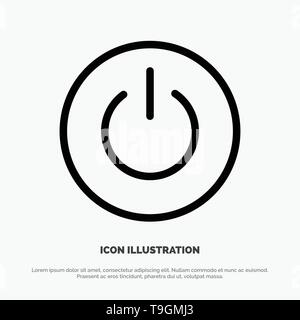 Interface, On, Power, Ui, User Line Icon Vector - Stock Photo