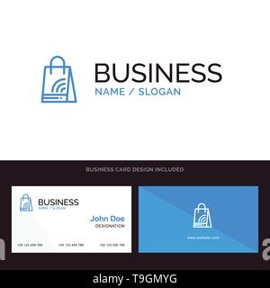 Bag, Handbag, Wifi, Shopping Blue Business logo and Business Card Template. Front and Back Design - Stock Photo
