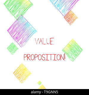 Writing note showing Value Proposition. Business concept for innovation service intended make product attractive - Stock Photo