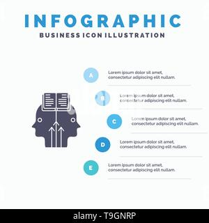Mind, Reading, Programming, Man Solid Icon Infographics 5 Steps Presentation Background - Stock Photo