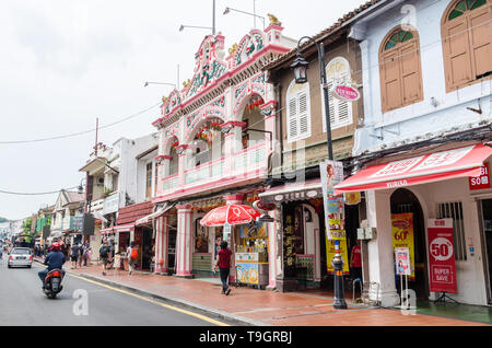 Malacca,Malaysia - April 22,2019 : Jonker Street is the centre street of Chinatown in Malacca. It was listed as a UNESCO World Heritage Site. - Stock Photo