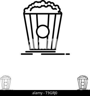 Popcorn, Theater, Movie, Snack Bold and thin black line icon set - Stock Photo