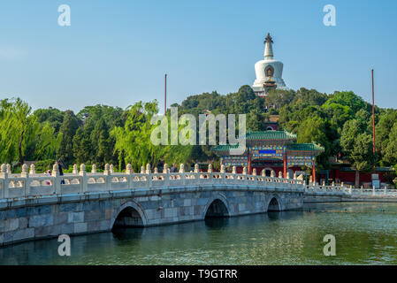 white pagoda of Beihai Park in Beijing, China - Stock Photo