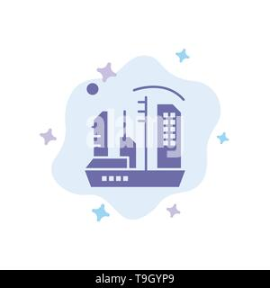 City, Colonization, Colony, Dome, Expansion Blue Icon on Abstract Cloud Background - Stock Photo