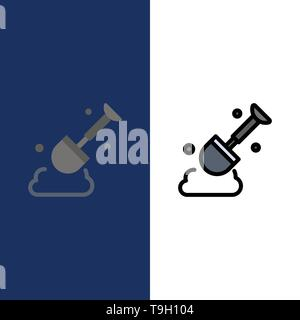 Construction, Shovel, Tool  Icons. Flat and Line Filled Icon Set Vector Blue Background - Stock Photo