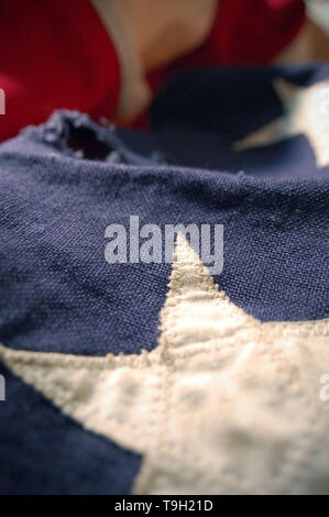 Extreme close-up shot of a U.S. flag. - Stock Photo