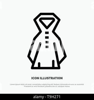 Clothing, Rain, Rainy Line Icon Vector - Stock Photo