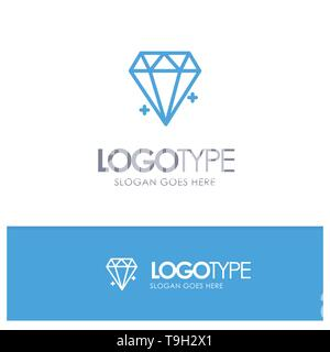 Diamond, Ecommerce, Jewelry, Jewel Blue Logo Line Style - Stock Photo