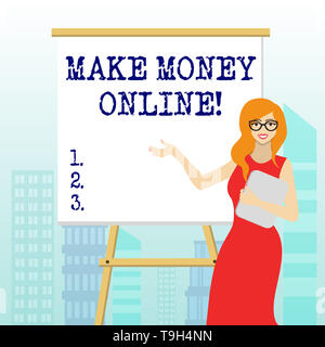 Writing note showing Make Money Online. Business concept for making profit using internet like freelancing or marketing - Stock Photo