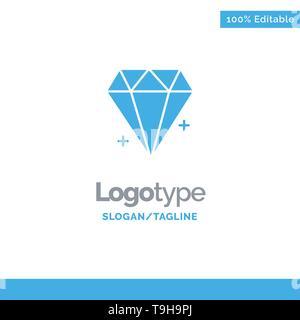 Diamond, Ecommerce, Jewelry, Jewel Blue Business Logo Template - Stock Photo