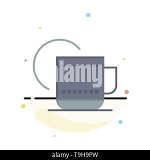 Tea, Hot, Hotel, Service Abstract Flat Color Icon Template - Stock Photo