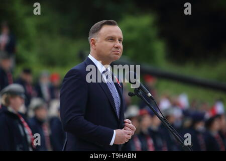 Cassino, Italy - May 18, 2019: The speech of the President of the Republic of Poland Andrzej Duda in the Polish military cemetery for the 75th anniversary of the Battle of Montecassino - Stock Photo