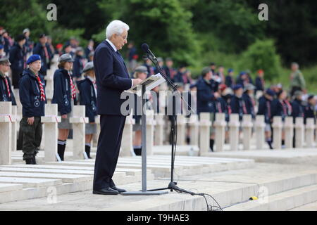 Cassino, Italy - May 18, 2019: The speech of the President of the Italian Republic Sergio Mattarella in the Polish military cemetery for the 75th anniversary of the Battle of Montecassino - Stock Photo