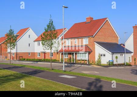 st michaels hurst new build housing development employment land, shops, community facilities in Bishops Stortford, Hertfordshire, England - Stock Photo