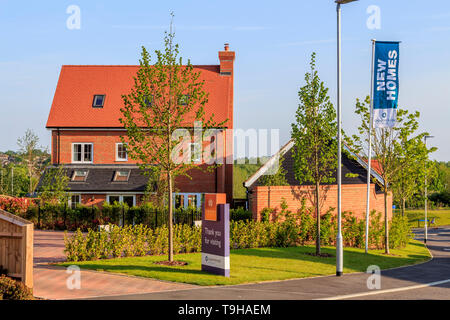st michaels hurst new build housing development employment land, shops, community facilities in Bishops Stortford, Hertfordshire, England - Stock Photo