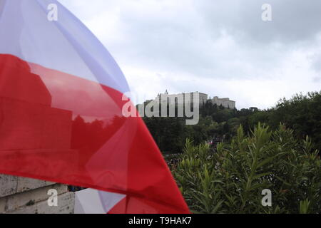 Cassino, Italy - May 18, 2019: The flag of the Republic of Poland flies in front of the Abbey of Montecassino on the occasion of the 75th anniversary of the Battle - Stock Photo
