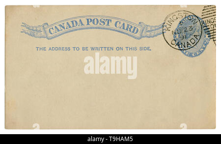 Kingston, Canada, 1891: Blanked Canadian historical Post Card with blue text in vignette, Imprinted One Cent Queen Victoria Stamp, Fancy cancel - Stock Photo
