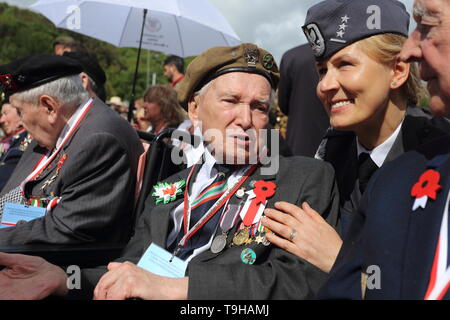 Cassino, Italy - May 18, 2019: Polish veterans participate in the celebrations of the 75th anniversary of the Battle of Montecassino - Stock Photo