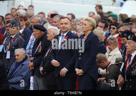 Cassino, Italy - May 18, 2019: Polish President Andrzej Duda and his wife participate in the cerminia for the 75th anniversary of the Battle of Montecassino in the Polish military cemetery - Stock Photo