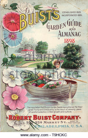 BUIST, ROBERT, CO-Woman rowing a boat full of fruits and vegetables from Buist's garden guide and almanac 1898 - Stock Photo
