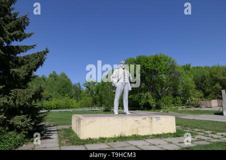 Lenin Monument inside of the Chernobyl exclusion zone, Ukraine - Stock Photo