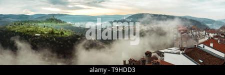 Morning panoramic view over the Veliko Tarnovo city and Tsarevets fortress,   Bulgaria - Stock Photo