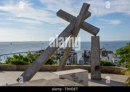 Fallen Cross Monument at Salvador Bahia on Brazil - Stock Photo