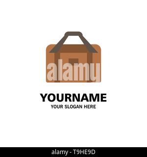 Bag, Equipment, Gym, Sports Business Logo Template. Flat Color - Stock Photo