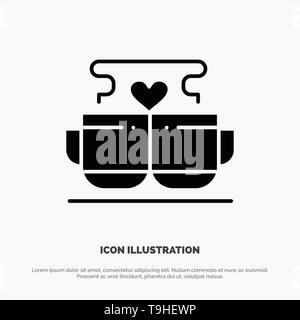 Cup, Coffee, Love, Heart, Valentine solid Glyph Icon vector - Stock Photo