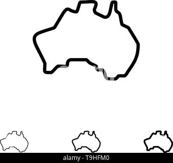 Australian, Country, Location, Map, Travel Bold and thin black line icon set - Stock Photo
