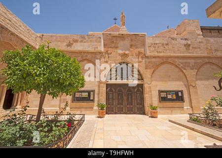 Outside of the Catholic Church of the Nativity in Bethlehem, West Bank, Palestine,  Israel - Stock Photo