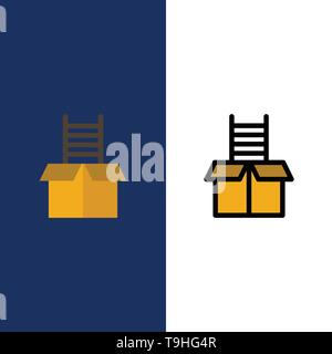 Box, Gift, Success, Climb  Icons. Flat and Line Filled Icon Set Vector Blue Background - Stock Photo