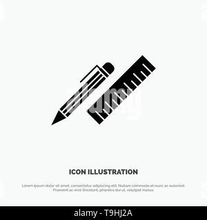 Pen, Desk, Organizer, Pencil, Ruler, Supplies solid Glyph Icon vector - Stock Photo