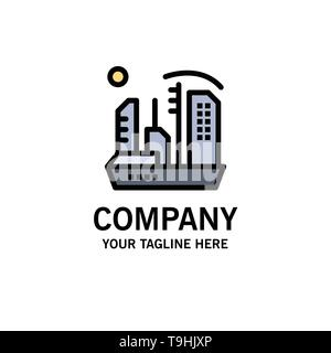City, Colonization, Colony, Dome, Expansion Business Logo Template. Flat Color - Stock Photo