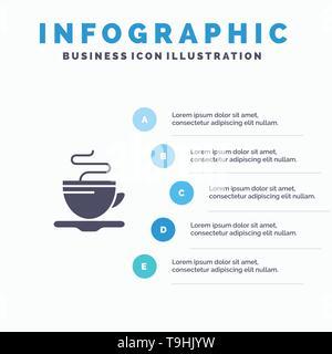 Tea, Cup, Coffee, Hotel Infographics Presentation Template. 5 Steps Presentation - Stock Photo