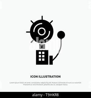 Alarm, Alert, Bell, Fire, Intruder solid Glyph Icon vector - Stock Photo