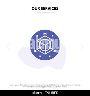 Our Services Scale, Modification, Design, 3d Solid Glyph Icon Web card Template - Stock Photo